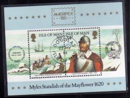 ISOLA DI MAN ISLE OF 1986 AMERIPEX 86 MAYFLOWER BLOCK SHEET BLOCCO FOGLIETTO FIRST DAY SPECIAL CANCEL FDC - Isola Di Man