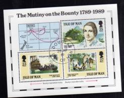 ISOLA DI MAN ISLE OF 1989 THE MUTINY ON THE BOUNTY BLOCK SHEET BLOCCO FOGLIETTO FIRST DAY SPECIAL CANCEL FDC - Isola Di Man