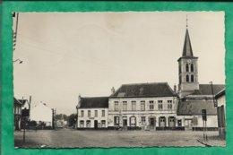 """Hasnon (59) La Place 2scans 17-06-1954 (Montreuil) église - Pub """"bières Denys"""" - Café Du Cinéma - Altri Comuni"""