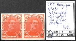 D - [841437]TB//**/Mnh-Belgique 1914 - N° 130, ND/Imperf, 10c Rouge En Paire, Marges , Familles Royales, Rois - 1912 Pellens