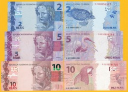 Brazil Set 2, 5, 10 Reais P-252, 253, 254 2010 UNC Banknotes - Brasile