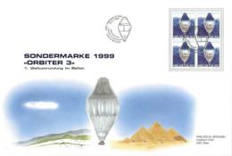 """GG - Enveloppe Avec Bloc De 4 Timbres  """"Orbiter 3"""" 1999 - Oblit Spéciale 1er Jour - Lettres & Documents"""
