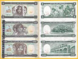 Eritrea Set 1, 5, 10 Nakfa 1997 UNC Banknote - Eritrea
