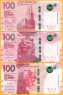 Hong Kong Set Of 3 Banknotes 100 Dollars P-new 2019 UNC - Hong Kong