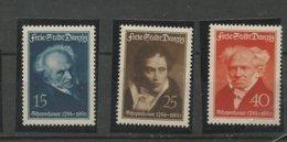 Danzig  1938 Mi.Nr.:  281-83 Schopenhauer  Set Mint Never Hinged Xx - Danzig