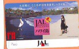 Télécarte HAWAII Sur JAPON * HAWAII Related (260)  FEMMES * JAL * Telefonkarte *  Phonecard Japan - - Landschaften