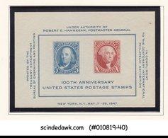 UNITED STATES USA 1947 CENTENARY OF INTERNATIONAL EXHIBITION SOUVENIR SHEET MNH - United States