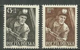 POLAND MNH ** 687-688 Journée Des Mineurs, Mineur Et Foreuse, Mine, Charbon, Lampe De Mineur - Neufs