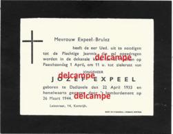 Oorlog Guerre Jozef Expeel Dadizele Gesneuveld Bombardement 26 Maart 1944 Te Kortrijk  Brulez - Santini