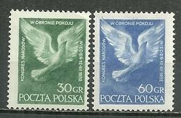 POLAND MNH ** 693-694 CONGRES DE LA PAIX à VIENNE. COLOMBE DE LA PAIX Oiseau - 1944-.... République