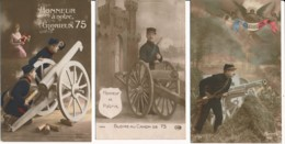 CPA WW1 Guerre 14-18 Lot De 3 Cartes GLOIRE AU CANON DE 75 Patriotiques Artillerie - Guerre 1914-18