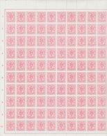 Feuille Complète (100 Timbres) 5 Cm Rouge/Lion Héraldique - Feuilles Complètes