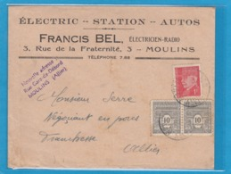 ELECTRIC - STATION -AUTOS - ELECTRICIEN-RADIO,MOULINS(ALLIER). - Briefe U. Dokumente