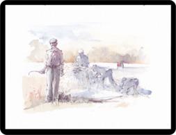 Reproduction D'une Aquarelle Homme Récoltant Reproduction Of Watercolor Man Reaping Reproduktion Aquarells Mann Erntet - Aquarelles
