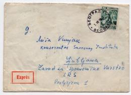1958 YUGOSLAVIA,SERBIA,BELGRADE TO LJUBLJANA,SLOVENIA,TPO BELGRADE-JESENICE NO.9,TELEGRAM IN TELEFON LJUBLJ,EXPRESS MAIL - 1945-1992 Socialist Federal Republic Of Yugoslavia