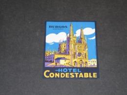 BURGOS ETIQUETTE  VALISES HOTEL CONDESTABLE (2) - Hotel Labels