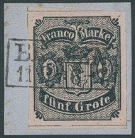 BREMEN 2 BrfStk, 1856, 5 Gr. Schwarz Auf Karmingrau, Type II, Kabinettbriefstück, Signiert Thier, Mi. (400.-) - Bremen