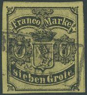 BREMEN 3b O, 1860, 7 Gr. Schwarz Auf Gelboliv, Zwei Kleine Rückseitige Schürfungen Sonst Farbfrisch Pracht, Gepr. W. Eng - Bremen
