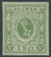 BREMEN 4a (*), 1859, 5 Pf. Gelbgrün, Gummi Wohl Nicht Original, Feinst - Bremen