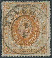 BREMEN 5b O, 1863, 2 Gr. Rotorange, Zentrischer K2 VEGESACK, Repariert Wie Pracht, Diverse Altsignaturen Und Gepr. W. En - Bremen