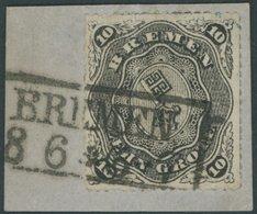 BREMEN 8B BrfStk, 1863, 10 Gr. Schwarz, Durchstich D 1 II, Mit 3 Trennungslinien Auf Briefstück, R2 BREMEN, Kabinettbrie - Bremen