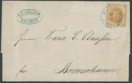 BREMEN 10a BRIEF, 1867, 2 Gr. Dunkelgelblichorange Auf Brief Mit Blauem K1 BREMEN BAHNF., Senkrechter Geglätteter Bug Du - Bremen
