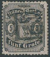 BREMEN 12 O, 1867, 5 Gr. Schwarz Auf Mattgraubraun, Repariert Wie Pracht, Mi. 400.- - Bremen