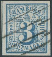 HAMBURG 4 O, 1859, 3 S. Preußischblau, Links Mit Vollständiger Trennungslinie, Kabinett, Mi. (160.-) - Hamburg