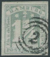 HAMBURG 8d O, 1864, 11/2 S. Graugrün, Pracht, Mi. 110.- - Hamburg