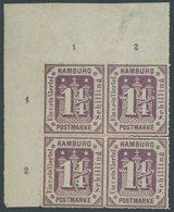 HAMBURG 20a VB *, 1866, 11/4 S. Dunkelbraunviolett Im Viererblock Aus Der Linken Oberen Bogenecke, Mit Reihenzählern!, F - Hamburg