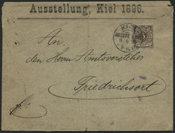 Dt. Reich 45b BRIEF, 1896, 3 Pf. Graubraun Mit Seltenem Sonderstempel KIEL AUSSTELLUNG, Feinst (Sonderumschlag Mängel) - Gebraucht