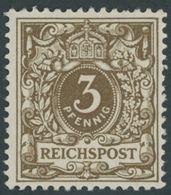 Dt. Reich 45e **, 1899, 3 Pf. Olivbraun, Postfrisch, üblich Gezähnt Pracht, Gepr. Zenker, Mi. 65.- - Gebraucht