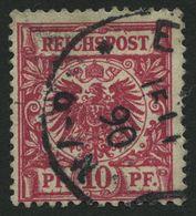 Dt. Reich 47aa O, 1889, 10 Pf. Lilakarmin, Normale Zähung, Pracht, Gepr. Petry, Mi. 100.- - Gebraucht
