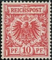 Dt. Reich 47b **, 1890, 10 Pf. Braunrosa, Postfrisch, Pracht, Kurzbefund Wiegand, Mi.120.- - Gebraucht