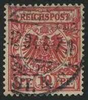Dt. Reich 47cI O, 1893, 10 Pf. Bräunlichrot Mit Plattenfehler T Von Reichspost Mit Querbalken, Pracht, Gepr. Starauschek - Gebraucht