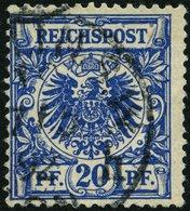 Dt. Reich 48ba O, 1892, 20 Pf. Schwarzblau, Bugspur Sonst üblich Gezähnt Pracht, Gepr. Zenker, Mi. 90.- - Gebraucht