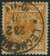 Dt. Reich 49aa O, 1890, 25 Pf. Goldgelb, Kleine Bugspur Sonst Pracht, Gepr. Wiegand, Mi. 450.- - Gebraucht