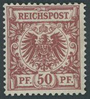 Dt. Reich 50ab *, 1889, 50 Pf. Dunkelfeuerrot, Falzreste, Farbfrisches Kabinettstück, R!, Mehrfach Geprüft Und Fotoattes - Gebraucht