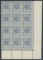 Dt. Reich 52 **, 1900, 2 Pf. Lebhaftgrau Im Zwölferblock Aus Der Rechten Unteren Bogenecke, Postfrisch, Kabinett, Gepr.  - Gebraucht