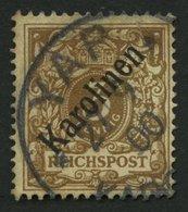KAROLINEN 1I O, 1899, 3 Pf. Diagonaler Aufdruck, Spalt Im Oberrand, Feinst, Gepr. Jäschke-L., Mi. 850.- - Kolonie: Karolinen