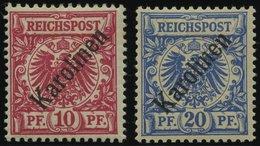 KAROLINEN 3/4I *, 1899, 10 Und 20 Pf. Diagonaler Aufdruck, Falzreste, 2 Prachtwerte, Mi. 150.- - Kolonie: Karolinen