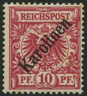KAROLINEN 3I *, 1899, 10 Pf. Diagonaler Aufdruck, Falzreste, Pracht, Gepr. Bothe, Mi. 75.- - Kolonie: Karolinen