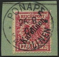 KAROLINEN 3I BrfStk, 1899, 10 Pf. Diagonaler Aufdruck, Prachtbriefstück, Gepr. Jäschke-L., Mi. (160.-) - Kolonie: Karolinen
