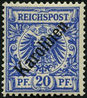 KAROLINEN 4I *, 1899, 20 Pf. Diagonaler Aufdruck, Falzreste, Pracht, Gepr. Steuer, Mi. 75.- - Kolonie: Karolinen