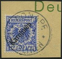 KAROLINEN 4I BrfStk, 1899, 20 Pf. Diagonaler Aufdruck, Prachtbriefstück, Gepr. Jäschke-L., Mi. (160.-) - Kolonie: Karolinen