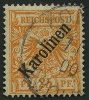KAROLINEN 5I O, 1899, 25 Pf. Diagonaler Aufdruck, Stempel PONAPE, Pracht, Fotoattest Jäschke-L., Mi. 3400.- - Kolonie: Karolinen