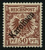 KAROLINEN 6I *, 1899, 50 Pf. Diagonaler Aufdruck, Kabinett, Gepr. Bothe Mit Befund, Mi. (800.-) - Kolonie: Karolinen