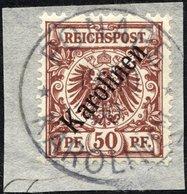 KAROLINEN 6I BrfStk, 1899, 50 Pf. Diagonaler Aufdruck, Stempel PONAPE, Prachtbriefstück, Fotoattest Steuer Mi. (1800.-) - Kolonie: Karolinen