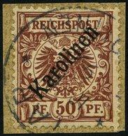 KAROLINEN 6I BrfStk, 1899, 50 Pf. Diagonaler Aufdruck, Prachtbriefstück, Fotoattest Steuer, Mi. 1800.- - Kolonie: Karolinen