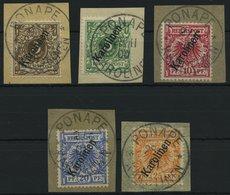 KAROLINEN 1-5IIa BrfStk, 1900, 3 - 25 Pf. Steiler Aufdruck, 5 Prachtbriefstücke, Mi. 160.- - Kolonie: Karolinen